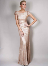 Olivia White Exclusive cap sleeves Sequin Maxi Dress